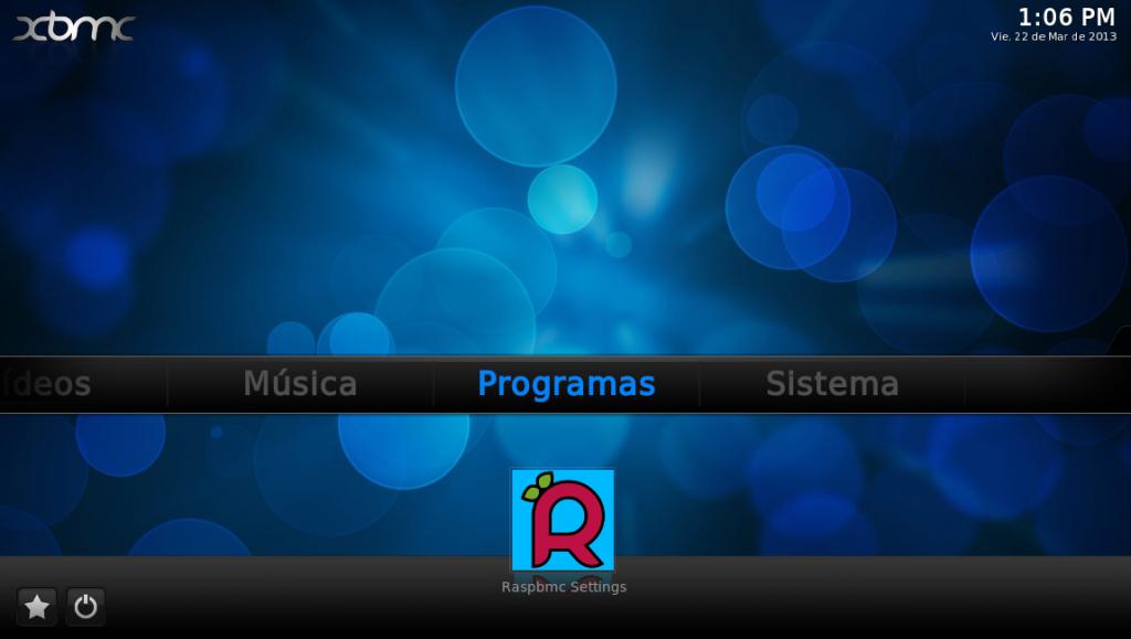 Inicio Raspbmc