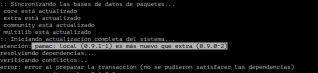 """Captura del error de Pacmac """"local es más nuevo que extra"""""""