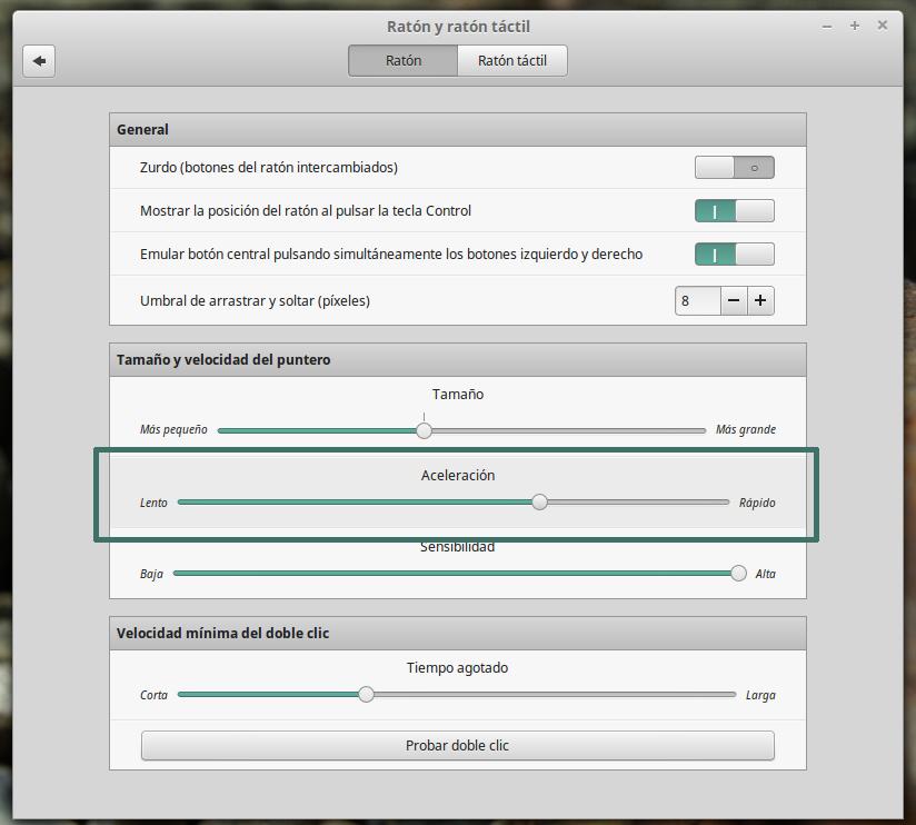 Ajustar la velocidad del ratón en el panel de control de Gnome