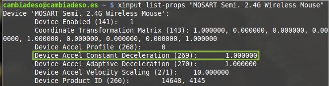 Un recorte del comando xinput que muestra todas las propiedades del ratón o método de entrada.