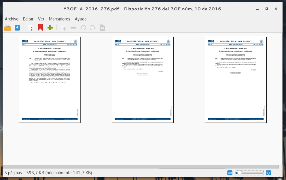 Unir PDF desde la terminal con Poppler, o usando PDF Mod.