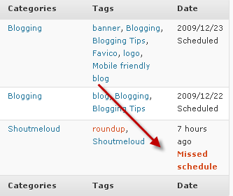 "Captura de pantalla de ""Programación Perdida"" en WordPress"
