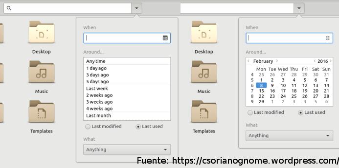 Dos capturas que muestran distintos modos de filtrar por fecha de útlima modifiación