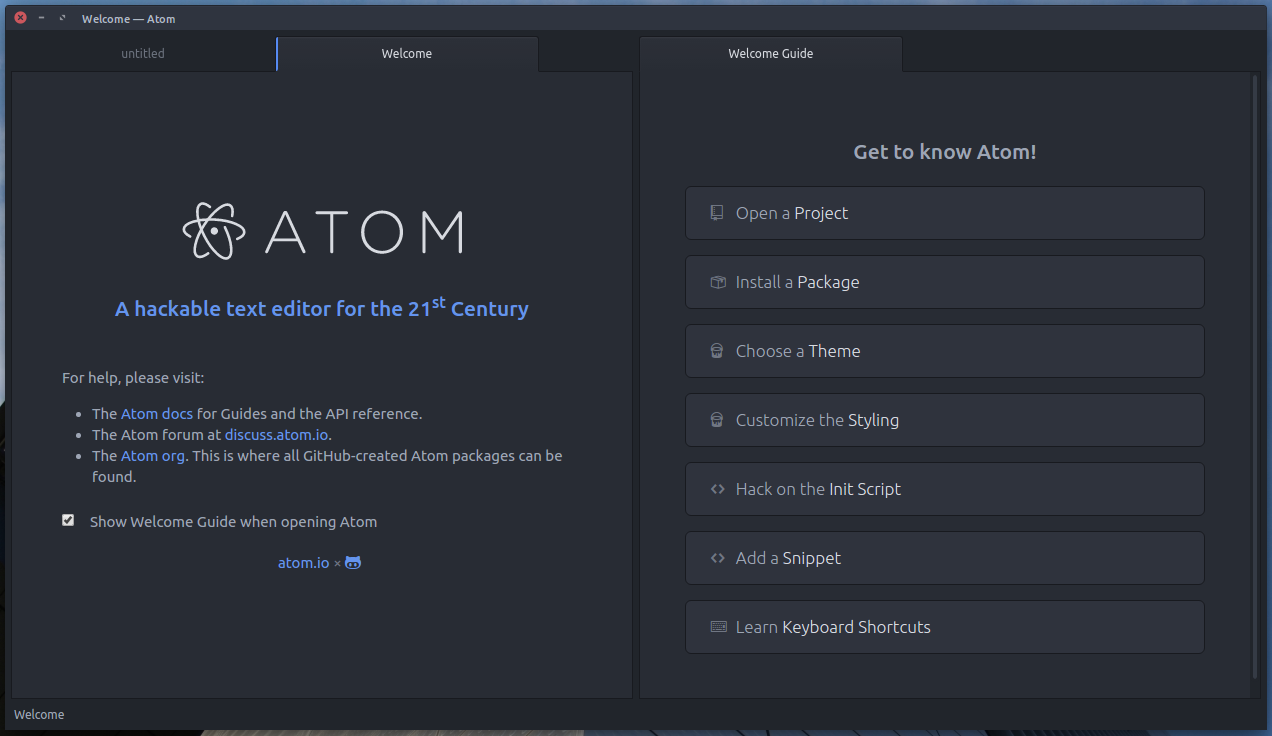Nada más instalar Atom, esta es la primera pantalla que veremos