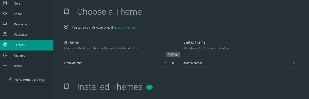 Pantalla para seleccionar un tema en Atom