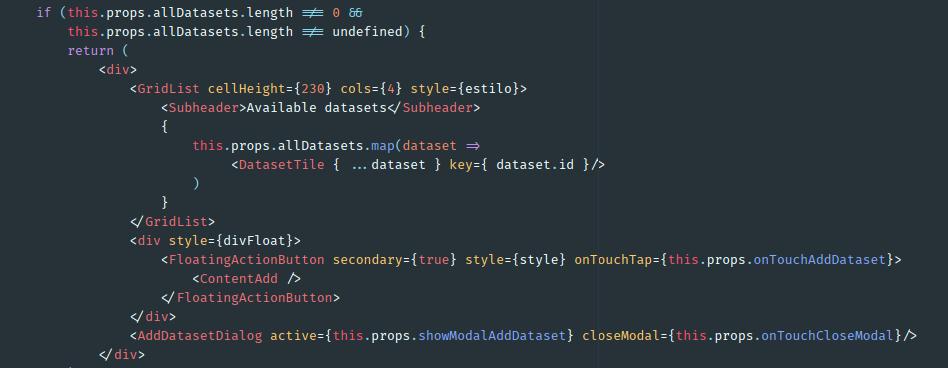 Código de ejemplo en Javascript mostrando ligaduras